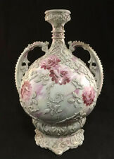 VINTAGE UNMARKED NIPPON PORCELAIN MORIAGE PINK ROSE DECORATION HANDLED VASE