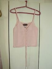 SALE  betty B  cotton knit lace up camisole M pink FEMININE