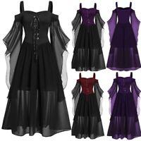 Women Renaissance Maxi Dress Medieval Victorian Ball Gown Halloween Costumes UK