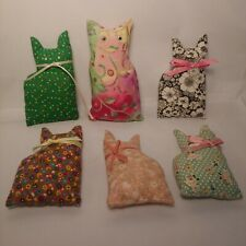 """New listing Vintage Homemade Plush Floral Mini Cats Quilting Fabric Cat Lot of 6 - 4.5"""""""