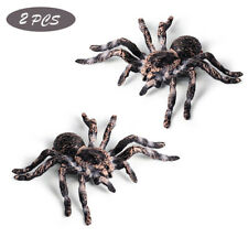 2Pcs Simulated Spider Model Realistic Plastic Spider Figurines Halloween Toy