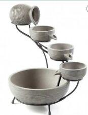 Grey Ceramic Outdoor Cascading Fountain Bird Bath with Solar Pump beautiful look