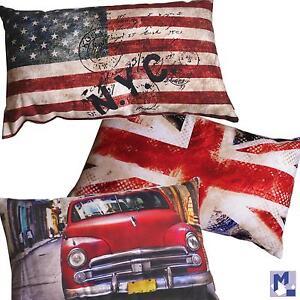 Kissen BRONCO Serie 3 Varianten wählbar Union Jack, Stars + Stripes oder Car NEU