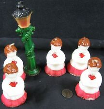 6 Vintage 1950's-60's Socony Oil Large Candles Carolers & Lamp Pole