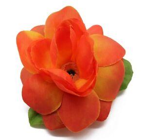 Hawaii Hair Clip Lei Party Luau Gardenia Flower Dance Beach Photo Orange Flame