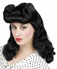 *Ladies Black Burlesque Wig 40s WW2 Pin Up Womens Fancy Dress Costume Accessory*