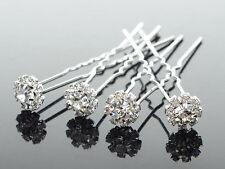 10x Wedding Bridal Diamante Crystal Hair Pins Silver Flower Girl Formal Deb .8cm