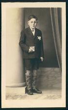 Edwardian boy Vintage Private Postcard 1st Communion Real photo bible long socks