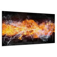 Glass Splashback Kitchen Tile Cooker Panel ANY SIZE Water and Fire Splash 0337