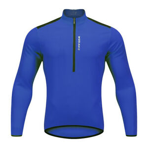 Men Long Sleeve Cycling Jersey Half Zipper Spring Bicycle Shirts Breathable Tops