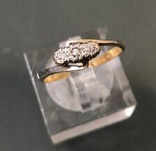 Women's Antique 18ct Gold & Platinum Diamond Ring Three-Stone 1.9g Size K