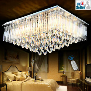 3 Colours Dimmable + Remote CTRL Bluetooth K9 Crystal Ceiling Light Chandelier