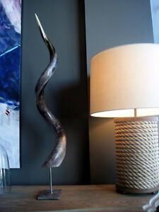 Polished kudu outer horn with metal stand- African antelope polished horn stand
