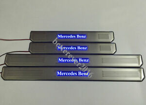 Blue LED Light Door Sill Scuff Plate Guards Fits Mercedes-Benz E-Class W210 W211