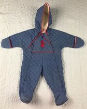 Baby Toddler Boys Winter Snow Suit Vtg Quiltex Blue One-Piece 6 Mo Embroidered