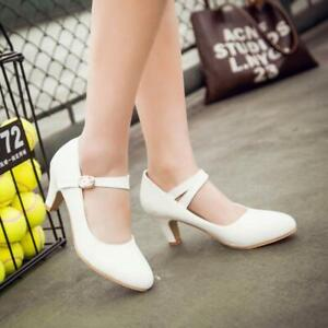 Womens Mary Jane Shoes Kitten Heels Round Toe Pumps Court Ankle Strap Sandals