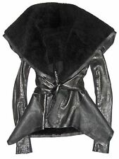 RICK OWENS Black Leather & Shearling Fur Collar Flared Asymmetric Jacket Coat 10