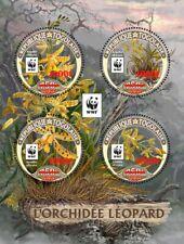 More details for togo flowers stamps 2020 mnh leopard orchid wwf orchids red ovpt 4v m/s