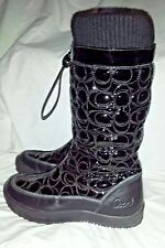 Coach Boots Size 6 Black Quilted Patent Leather PRISILLA Monogram Rain Snow