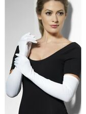 White Gloves Ladies Long 52cm Glamour Fancy Dress Accessory