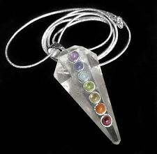 Clear Quartz Crystal Point 7 Chakra Stone Silver Pendant Necklace Reiki Healing