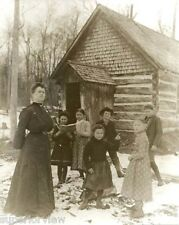 Vintage Woman Teacher One Room Log Cabin  School House Rustic Teaching Michigan