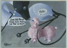 SIAMESE CAT PINK FRENCH POODLE NEW YORK CITY SIDE WALK LISTED ARTIST PAINTING