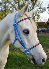 Perfeq 2 Part Deluxe bridle in Matt Pale Blue with Overlay. Size Cob/Arab