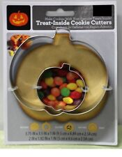 TREAT-INSIDE PUMPKIN COOKIE CUTTER SET Halloween Baking Party Metal Holiday NEW