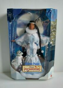 New Disney Barbie Collector Doll Winter Moon Pocahontas With Meeko 1999 Mattel