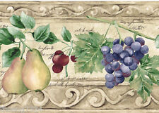 Tuscan Tuscany Fruit Vine Scroll Script Beige Taupe Kitchen Wall paper Border