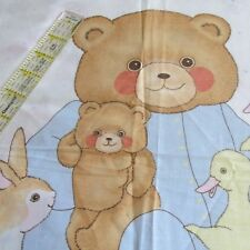 Baby quilt top blanket cotton fabric panel Pajama Teddy Bear pastels duck