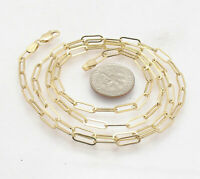 "Fashion Elongated Paper Clip Chain Necklace Real 14K Yellow Gold 14"" thru 46"""