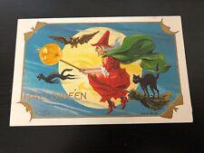 Vintage HOLIDAY EMBOSSED Postcard--Halloween--Series 804--Witch Broom Black Cat