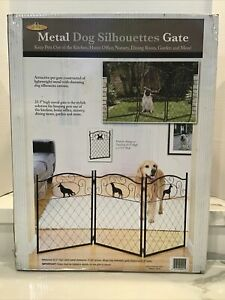 "NIB 3 PANEL DECORATIVE METAL FREE STANDING FOLDABLE PET GATE / 24"" TALL / NEW"