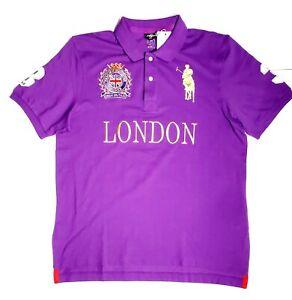 "BOGNER Mens Polo Club Of Great Britain ""3"" London Purple Sz Large RARE HTF NWT!"