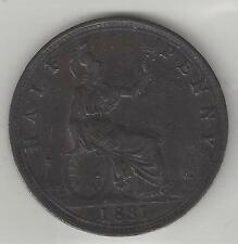 GREAT BRITAIN, 1881,  1/2 PENNY, BRONZE,  KM#754, CHOICE EXTRA FINE