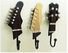 3pcs Creative Guitar Heads Music Decorative Wall Hook Rack Coat Hat Hanging Rack
