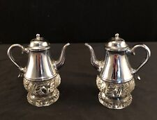 Silver Plated & Glass Teapot Coffee Pot Salt & Pepper Shakers Vintage