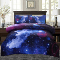 Galaxy Comforter Set Reversible Quilt Sky Outer Space Bedding Sets Twin/Full