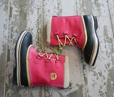 SOREL Pink Leather YOUTH YOOT PAC Faux Fur Trimmed Winter Snow Boots US 7 EUR 39