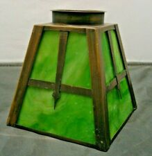 Arts & Crafts Mission square Brass Frame shade Green Slag Glass