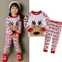 New Baby Boys Girls Rudolph Reindeer Long Sleeve Nightwear Sleepwear Pajamas Set