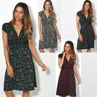 Womens Ladies V Neck Mini Midi Dress Floral Print Knot Short Skirt Party Casual