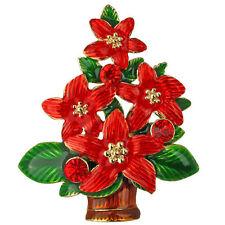 NEW KIRKS FOLLY RADIANT RED POINSETTIA TREE PIN GOLDTONE