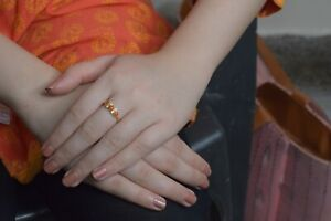 18K Yellow Gold Diamond Wedding Anniversary Coral Gemstone Indian Handmade Ring