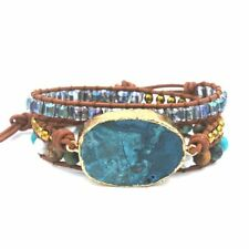 Wraps Mood Mixed Handmade Leather Women Boho Bracelets Naturals Stones Gilded