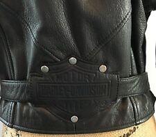 Harley Davidson Short Black Leather Motorcycle Riding Jacket Womens Medium 91027