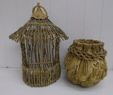 KW-430 2 UNIQUE COCONUT AND TWIG TIKI HUT BASKET SOUVENIR VINTAGE HAWAII DECOR