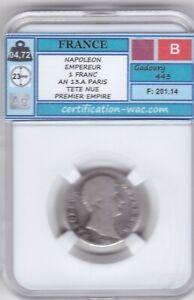 NAPOLEON EMPEREUR 1 FRANC AN 13.A PARIS ARGENT/SILVER